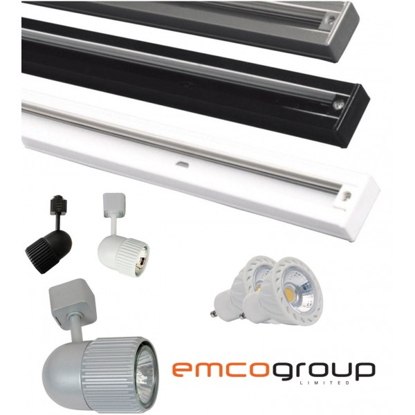 Emco mains track single circuit lighting 4m track 8x gu10 led emco mains track single circuit lighting 4m track 8x gu10 led spotlight 8 spot light mozeypictures Image collections